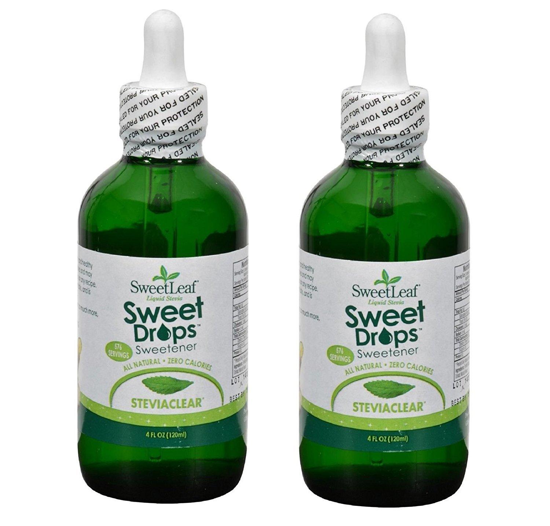 SWEETLEAF STEVIA SteviaClear Liquid Extract 4 OZ Set of 2