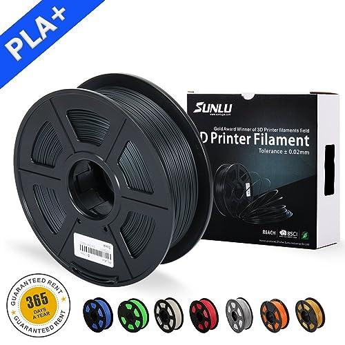SUNLU 3D Printer Filament PLA Plus Grey Black, PLA Plus Filament 1.75 mm,Low Odor Dimensional Accuracy +/- 0.02 mm, 3D Printing Filament,2.2 LBS (1KG) Spool for 3D Printers & 3D Pens,Grey Black