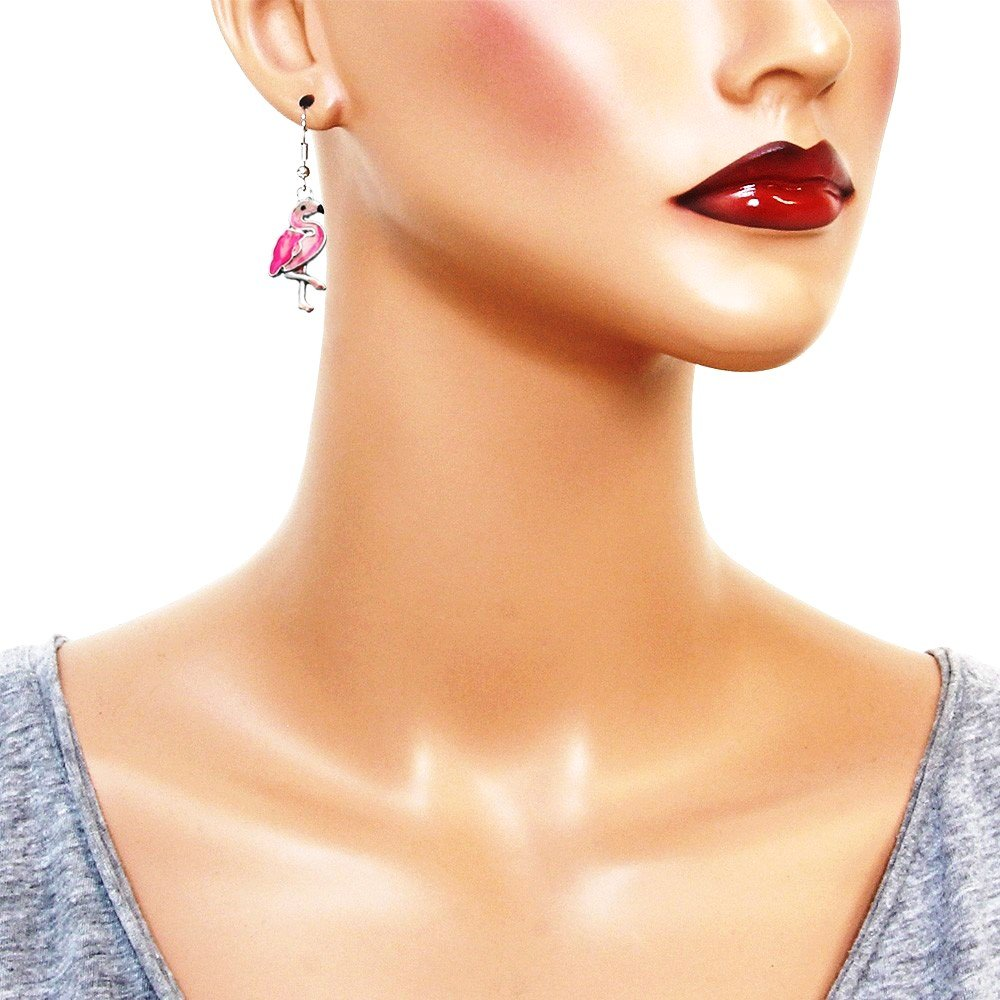 DianaL Boutique Silvertone Enameled Hand Painted Pink Flamingo Earrings Gift Boxed Fashion Jewelry for Women Teens and Girls