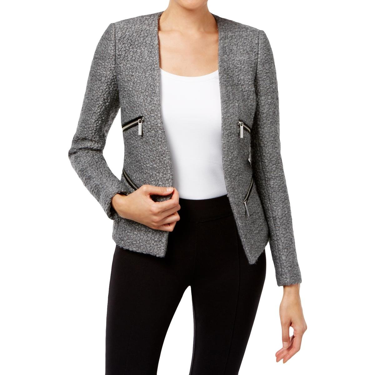 Michael Kors Womens Jacquard Marled Open-Front Blazer Gray 16