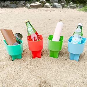 Home Queen Beach Cup Holder with Pocket, Multifunctional Sand Cup Holder for Beverage Phone Sunglasses Key, Beach Accessory Drink Sand Coaster, Set of 4 (Blue, Teal, Orange and Green)