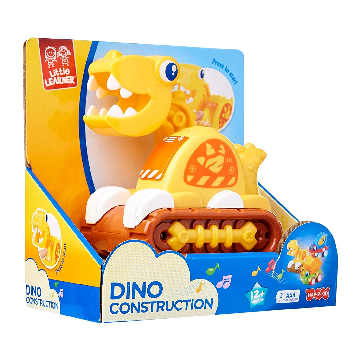 Hap p kid Dino Construction Vehicle Yellow
