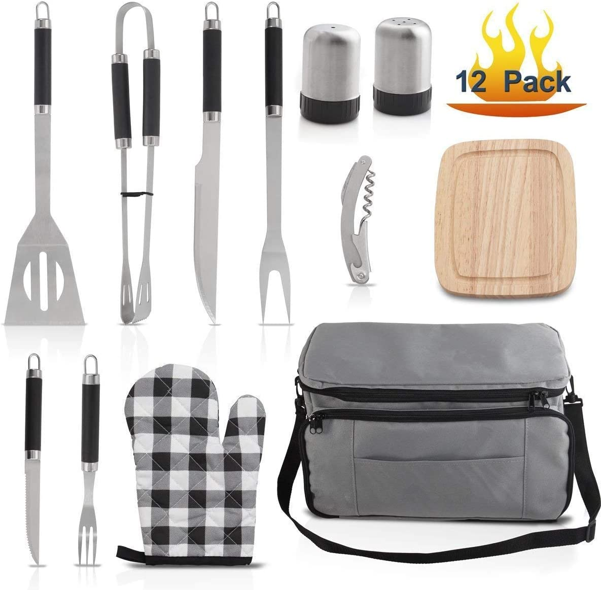 Grilljoy BBQ Grill Accessories Tool Set with 15 can Gray Insulated Cooler Bag – All-in-one BBQ Picnic Cooler Bag – 12pcs Stainless Steel Camping Utensil Kit For Outdoor Grilling – Prefect Gift for Man