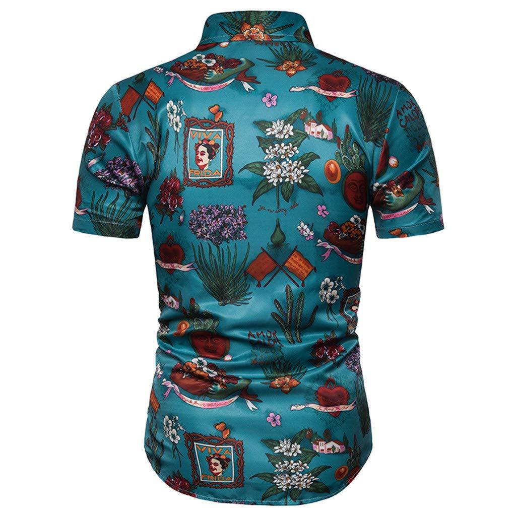YAYUMI Summer Mens Vintage Personality 3D Color Print Trend Color Short Sleeve Shirt Blouse