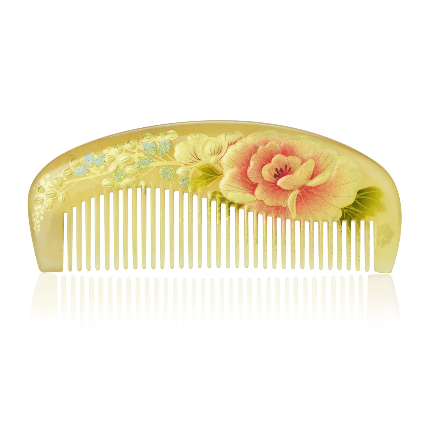Yumary Traditional Chinese Styling Handmade Hair Comb Quality Natural Cattle Horn Comb 4.7 Inch Without Handle Beard Comb Flower Handmade Lacquer Drawing Gift Packaging (Peony)