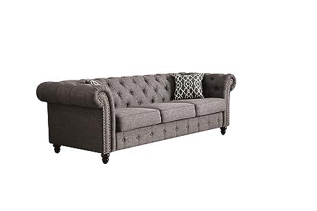 Captivating ACME Aurelia Gray Linen Sofa With 2 Pillows