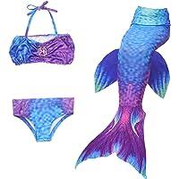 BESTYLING 3pcs Girl's Mermaid Tail, Colorful Swimmable Princess Swimwear Bikini Set for Swimming