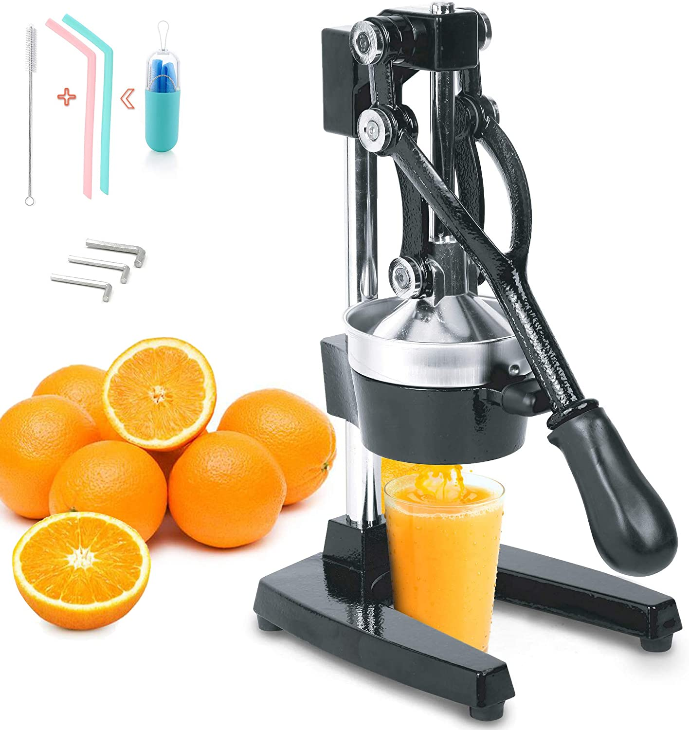 Cast Iron Juice Press Juicer Extra Large Heavy Duty Commercial CitrusLime Grapefruit Juice Stainless Steel Extractor Cast Iron Body - Bonus 2 Silicone Straws Drinking Reusable