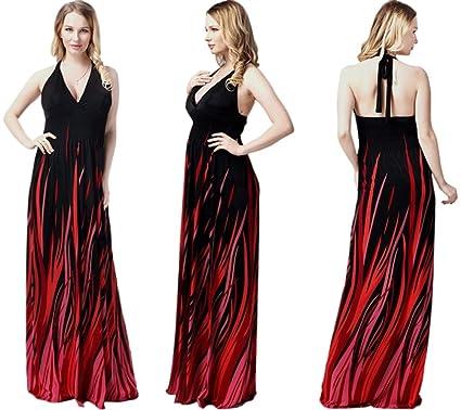 9768c1d416b Amazon.com  Unomatch Women Plus Size V-Neck Long Gown Printed Dress ...