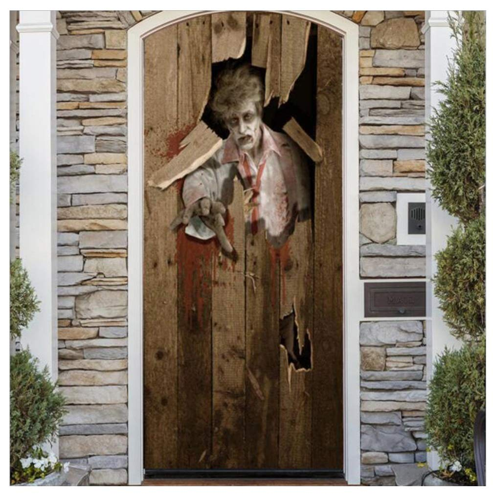 YYH Halloween Zombie Door Stickers, Glass Window Stickers, Realistic Decorations, 77 × 200 cm by YYH