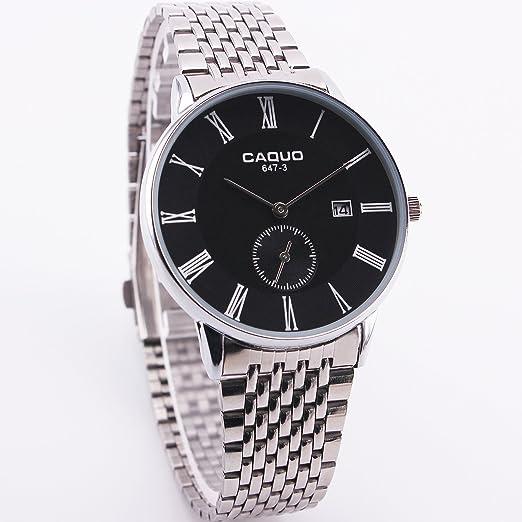 CAQUO de los hombres Moda Formal ocasión vestido cuarzo reloj de pulsera enlace de acero inoxidable números romanos decoración Sub Dial Fecha Display: ...