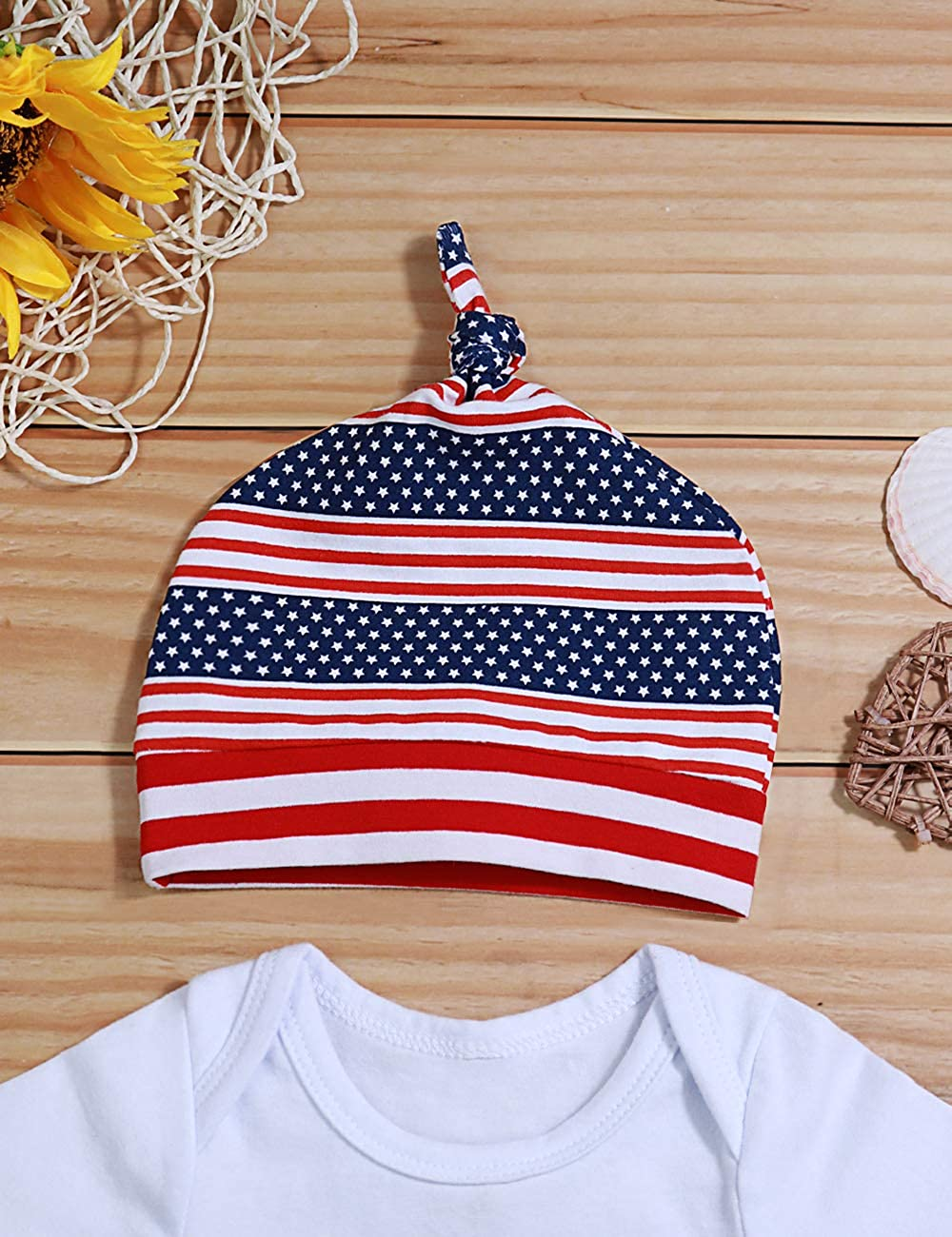 My First 4th of July Newborn Baby Boys Girls Clothes Summer Romper/American Flag Star Stripe Short Pant/Outfits Set