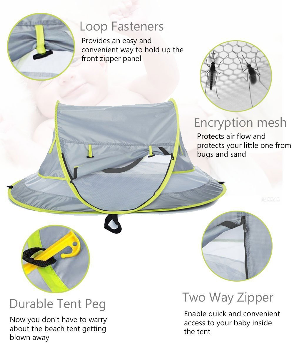 Baby Beach Tent UV Protection UPF 50+ Instant Beach Tent Sun Shelter Pop-up Outdoor Portable Newborn Travel Cribs Bed with Sleeping Pad, Mosquito Net and 2 Pegs Ultralight Weight by Monocho by Monocho (Image #3)
