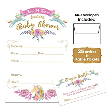 Baby Shower Unicorn Invitations For Girl And Diaper Raffle Tickets Set Of 25 Unicorn Floral Fill In The