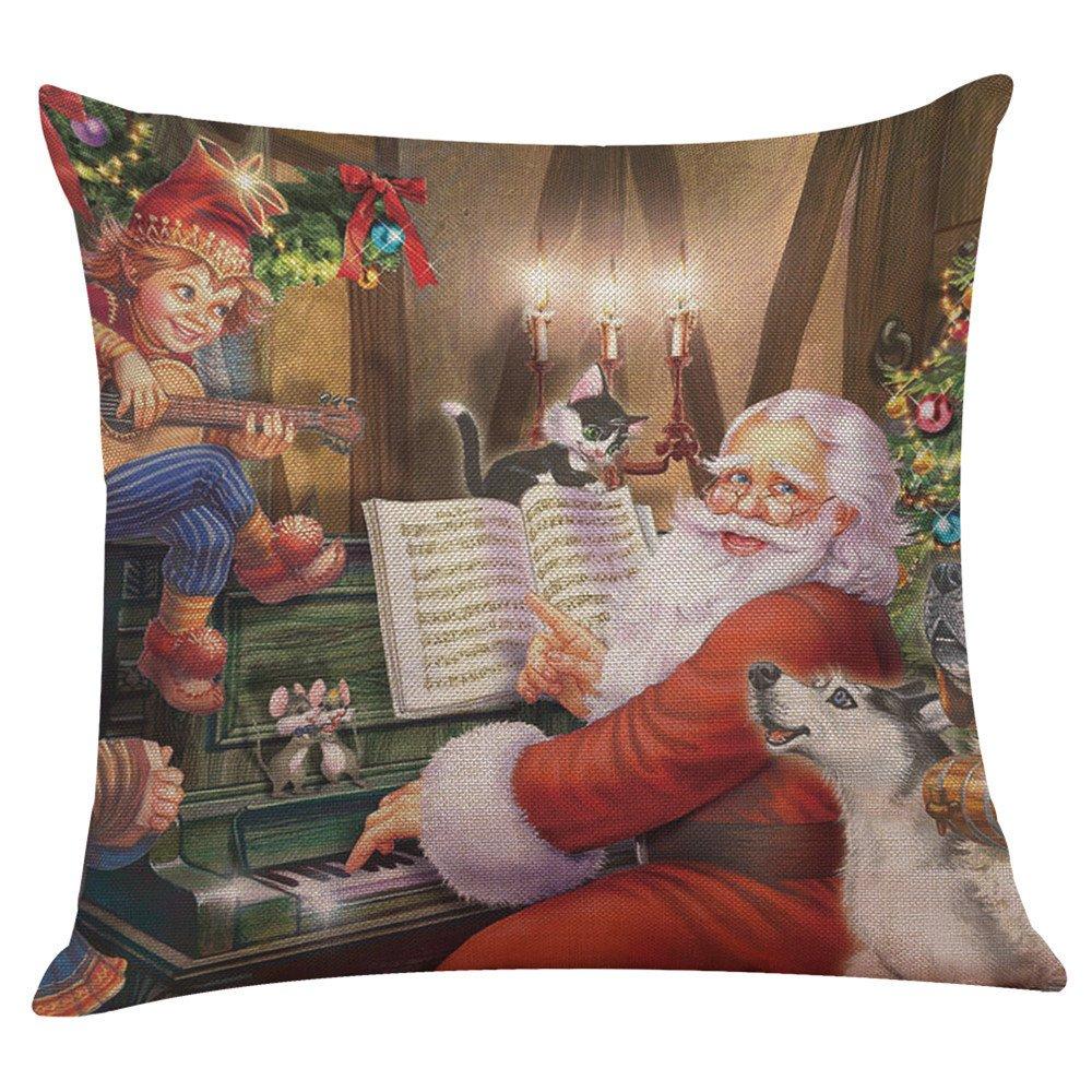 FeiliandaJJ Pillowcase Christmas, kissenhülle Kopfkissenbezug Weihnachten Dekoration Kissenbezug glücklich Weihnachtsmann Muster Super weich Sofakissen für Wohnzimmer Sofa Bed Home,45x45cm (A)