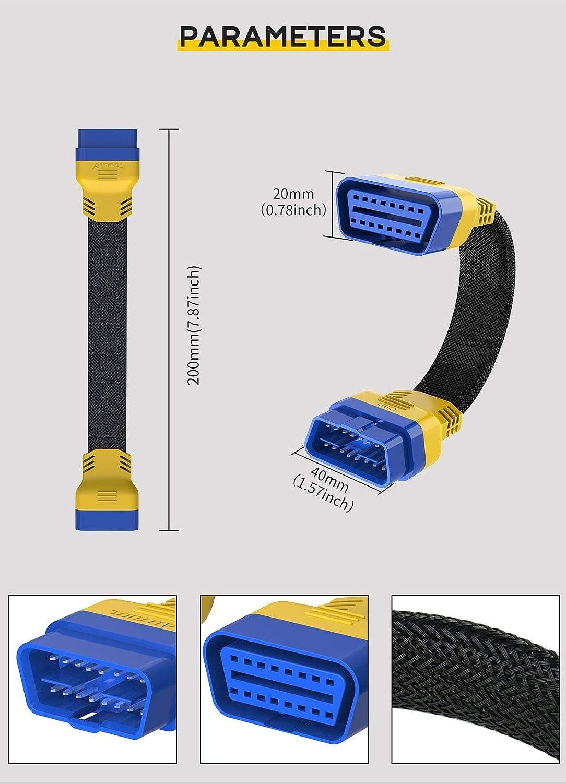 conector OBD2 de 20 cm OURANTOOLS OBDII cable de diagn/óstico OBD para coche material de nailon grueso Cable alargador de 16 pines macho a hembra