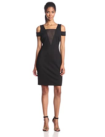 HALSTON HERITAGE Women's Off Shoulder Fitted Dress with Mesh Insert, Black, X-Large