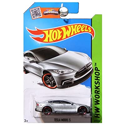 Hot Wheels 2015 HW Workshop Tesla Model S 217/250, Silver: Toys & Games