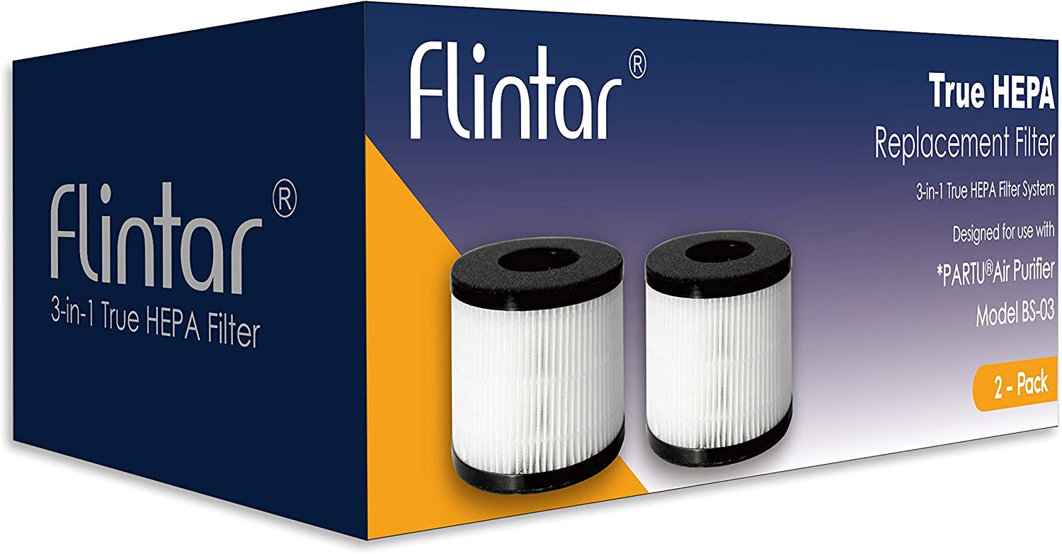 PARTU BS-03 HEPA Air Filter Replacement Filter 3-in-1 Filtration System Include