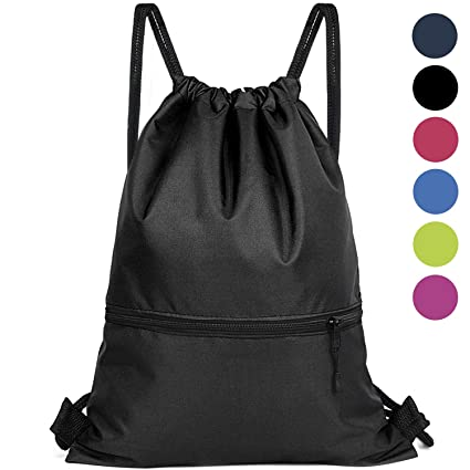 a4012e2c4622 Amazon.com: Drawstring Backpack Bag - Gym Sackpack Cinch Bags for Men and  Women - Large Size with Zipper for Gym, Yoga, Travel, Hiking, Beach Bags -  6 ...