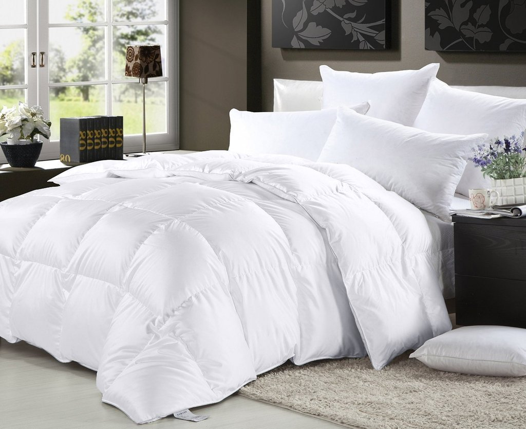 amazoncom elliz luxurious lightweight white down comforter light warmth duvet insert 100 cotton 600 fill power fullqueen white home u0026 kitchen