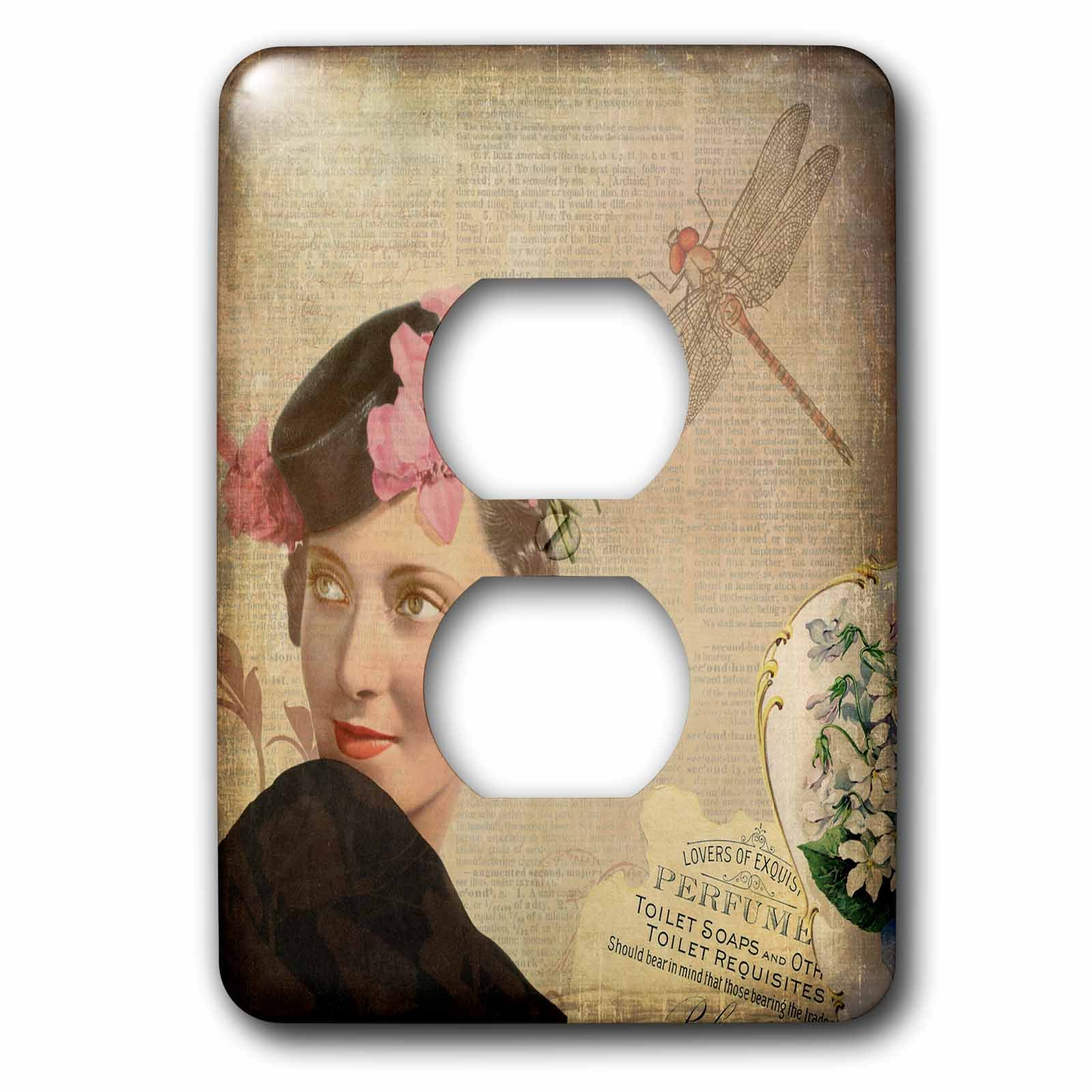 3dRose Andrea Haase Art Illustration - Vintage Woman Retro Style Illustration - Light Switch Covers - 2 plug outlet cover (lsp_282546_6)