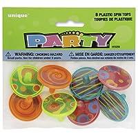 Unique Party - 86258 - Paquet de 8 Toupies en Plastique pour Pochettes - Cadeau
