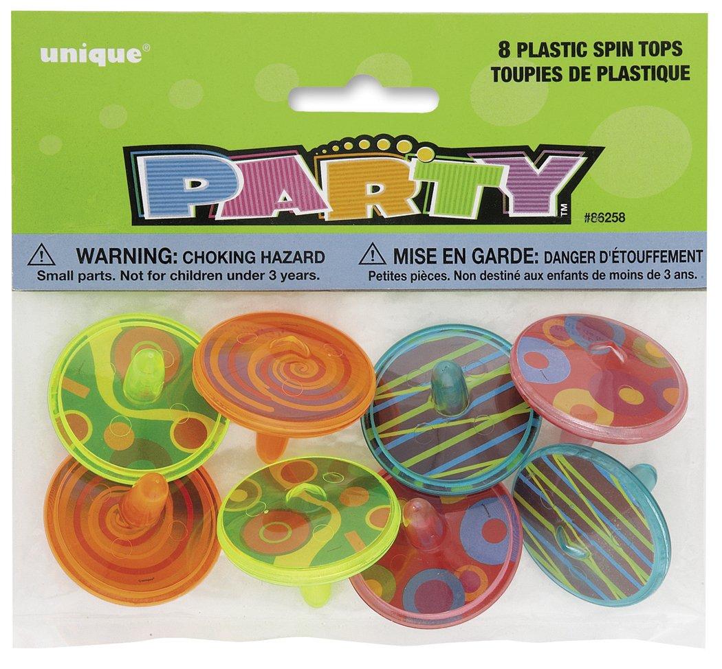 Unique Party - 86258 - Paquet de 8 Toupies en Plastique pour Pochettes - Cadeau product image