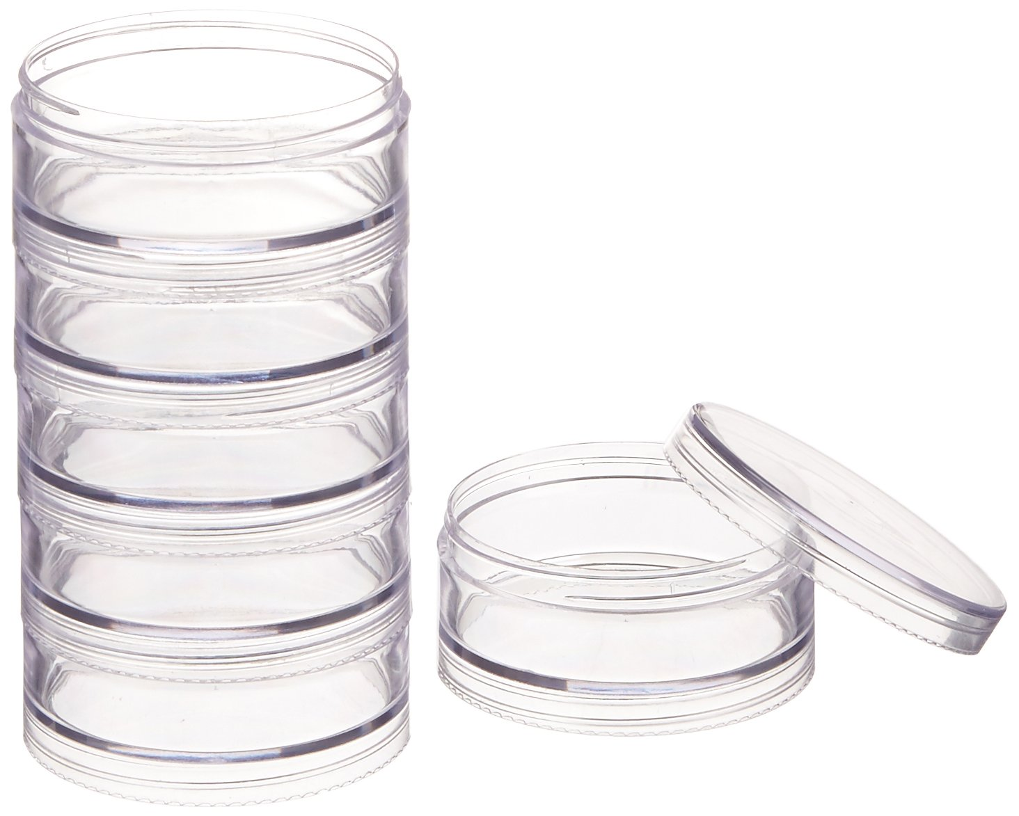 Paylak CNTB111-6 Storage Stackable Containers 6 for Beads Crafts 2.75 Round FBA_CNTB111-6