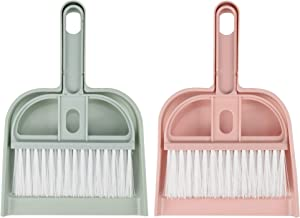 Cosmos Set of 2 Mini Dustpan Brush Set Desk Cleaner for Computer Keyboard Pet Cage Waste Cleaning Tool in Office Home Housework