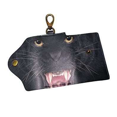 Amazon.com  KEAKIA Black Leopard Leather Key Case Wallets Tri-fold ... eba4471b7