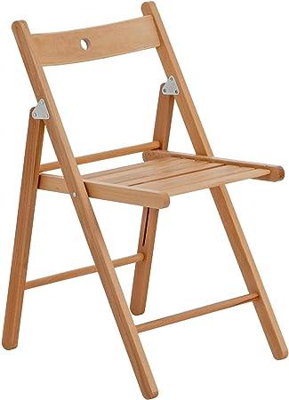 Chaise en bois pliante couleur bois naturel