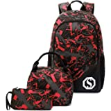 CAMTOP School Backpack for Boys Kids School Bookbag Set Student Backpack with Lunch Box and Pencil Case (Graffiti - Red)