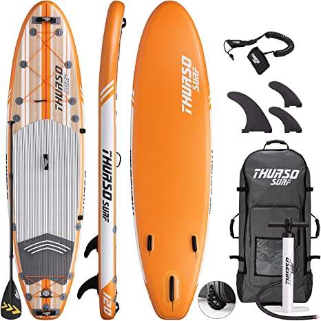 THURSO SURF Waterwalker All-Around Inflatable Stand Up Paddle Board SUP 10/106/11 Two Layer Deluxe Package Includes Carbon Shaft Paddle/2+1 Quick ...