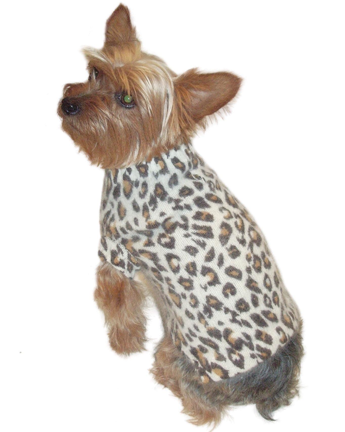 Luxury Animal Instincts Mock Neck, Angora Blend, Ivory Leopard, XS