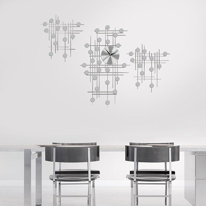 Jago Wanduhr im Futuristischen Design | Silber, 3-teilig, mit ...