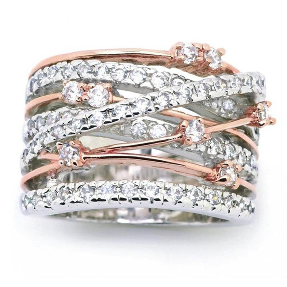 Sinwo Women Elegant Exquisite Diamond Cylindrical Rings Fine Ring Engagement Ring Gift (6, Rose Gold)