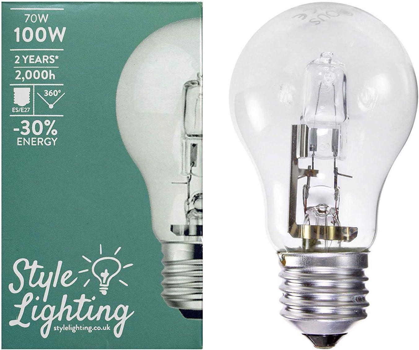 5 x Style Lighting Gl/ühbirne Eco Halogen-Energiesparlampe 70 W = 100 W ES E27 Dimmbar Warmwei/ß