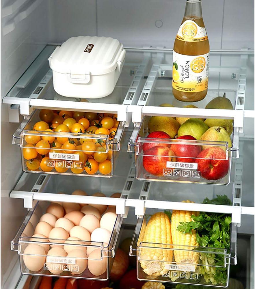 MUYCO Refrigerador Caj/ón Estantes Deslizador Cocina Nevera Congelador Ahorrador de Espacio Estante Estante Organizador del Estante