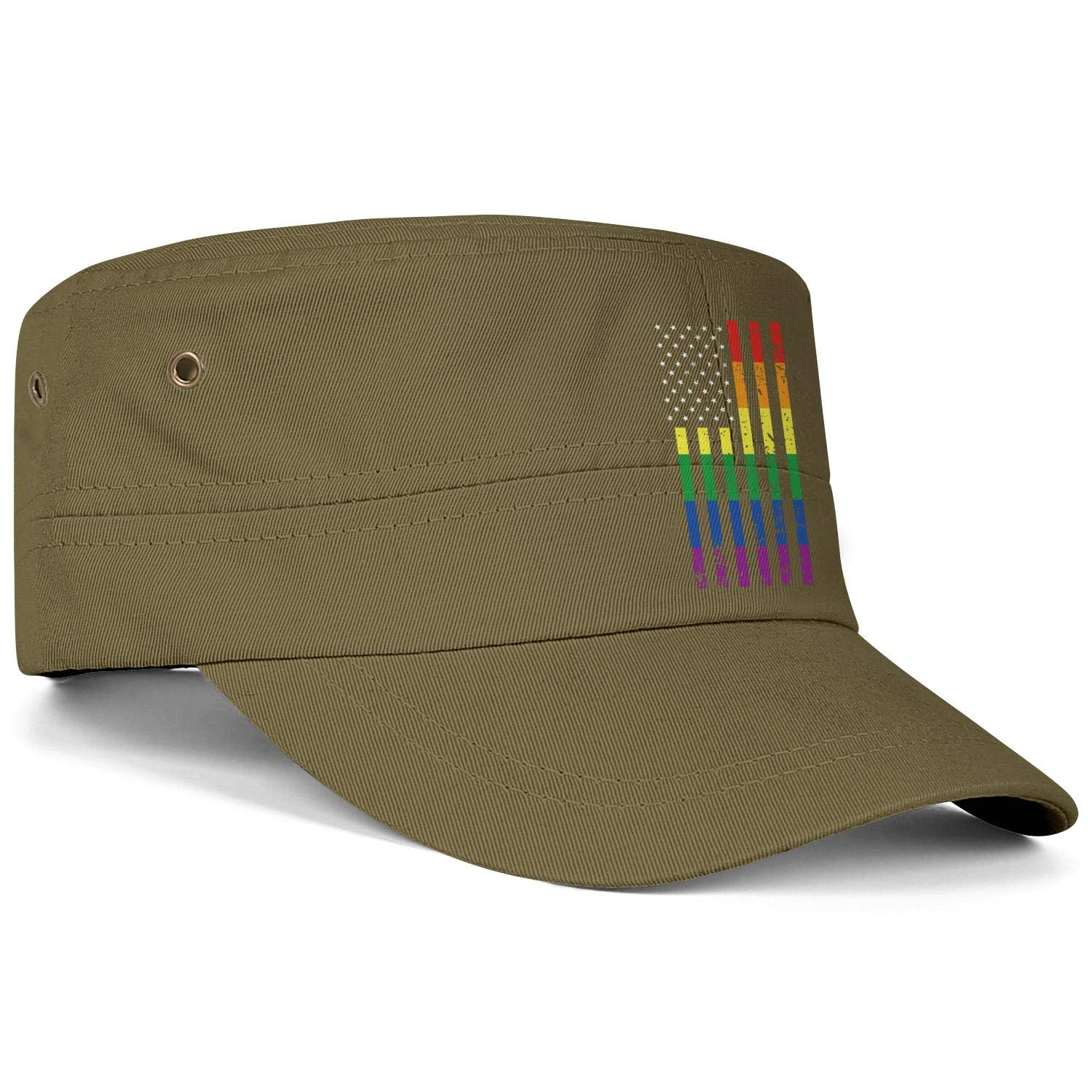 Unisex Military Hat Distressed Rainbow Flag Gay Pride Style Vintage Flat Top Cadet Army Caps