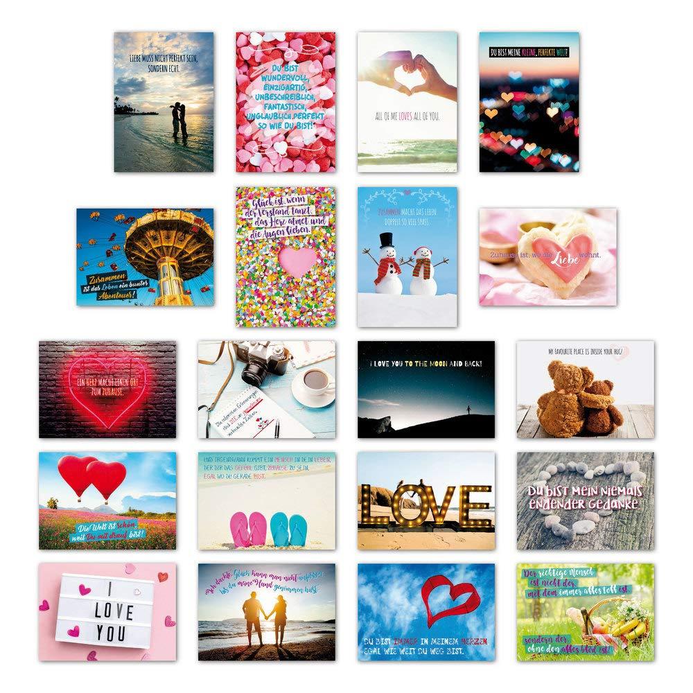 ewtshop 20er Cartoline Set Amore con 20iscrizione & citazioni//cartolina biglietto d' auguri con scritta EAST-WEST Trading GmbH