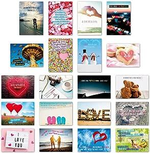 ewtshop 20 tarjetas postales Juego Amor con 20 Frases & Citas//Postal Tarjeta De Felicitación con texto en alemán: Amazon.es: Oficina y papelería