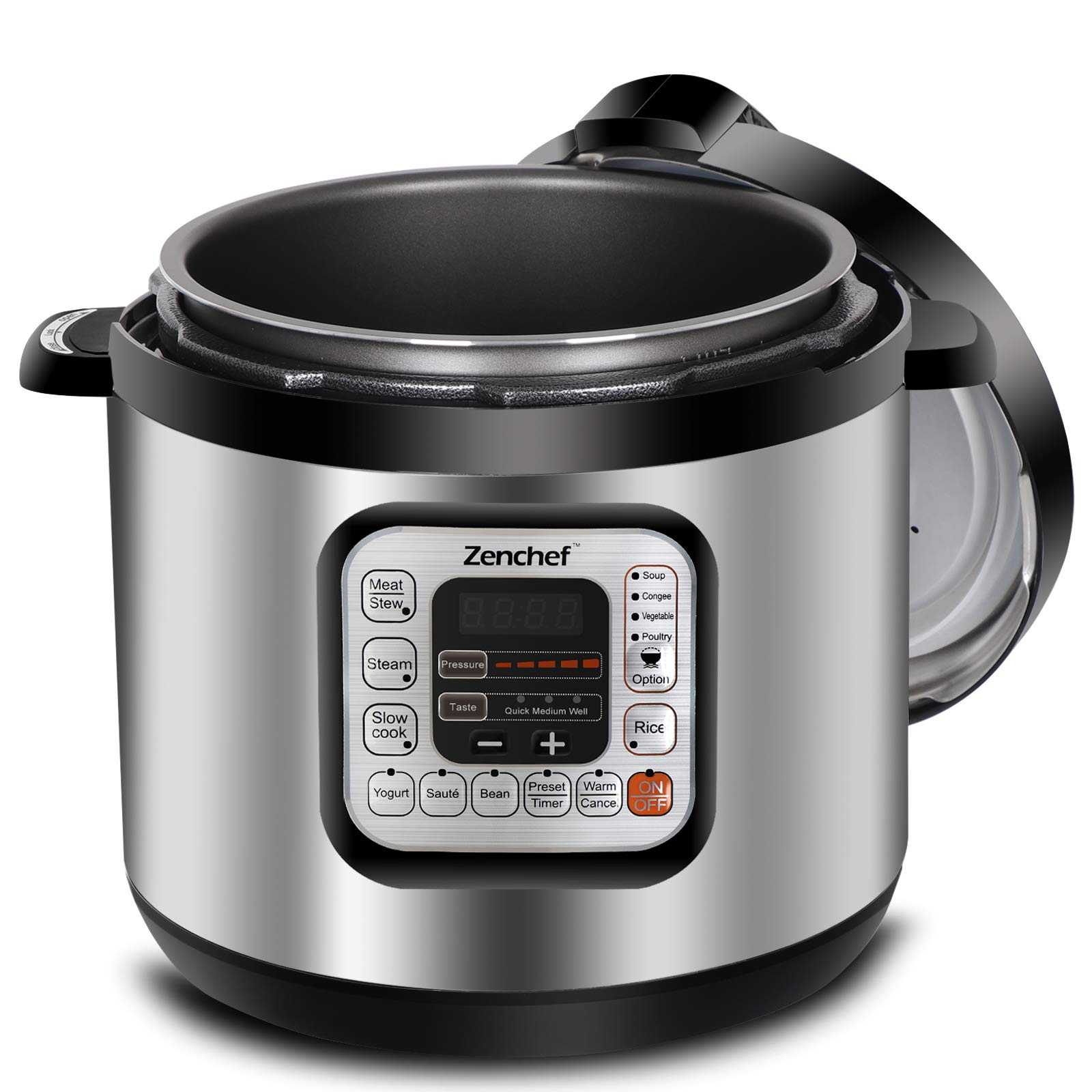 Zenchef Newest Generation 11-in-1 Electric Pressure Cooker 6 Qt XL Family Size Slow Cooker, Rice Cooker, Yogurt Maker, Sauté, Steamer, Warmer, Stew and Sterilizer, 1000W