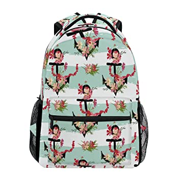 a2265bf4e335 Image Unavailable. Image not available for. Color  WXLIFE Navy Nautical  Anchor Flower Backpack Travel School Shoulder Bag For Kids Boys Girls Women  Men