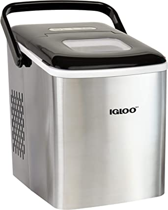 Igloo Iceb26hnss Automatic Self Cleaning Portable Electric Countertop Ice Maker Machine With Handle 26 Pounds In 24 Hours 9 Ice Cubes Ready In 7 Minutes With Ice Scoop And Basket Stainless Appliances