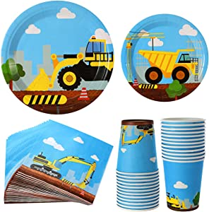 Construction Birthday Party Supplies Set 102 Pieces For Kids- -Serves 24 Guest-Digger Truck Bulldozer Themed Dinnerware Kit - Including Dump Truck disposable Plates, Cups, Napkins