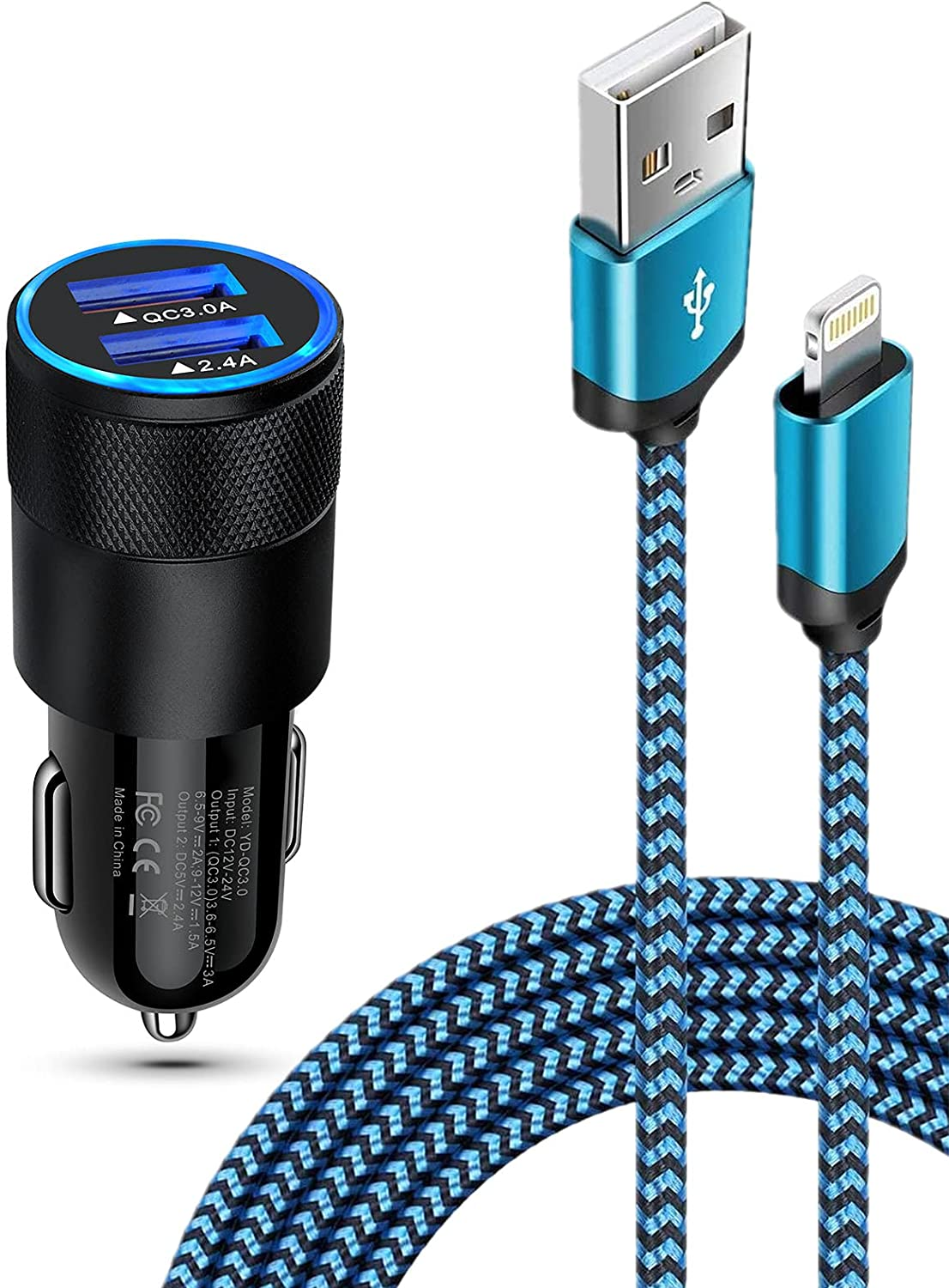 iPhone Car Charger Kit Fast Charging for iPhone 12 Pro Max Mini SE 11Pro Max X 10 XR XS 8 Plus 7 6 6S 5, 30W Dual Port Lighter Adapter + Braided Apple Lightning Cable Cigarette Car Block Cord Wire 6FT