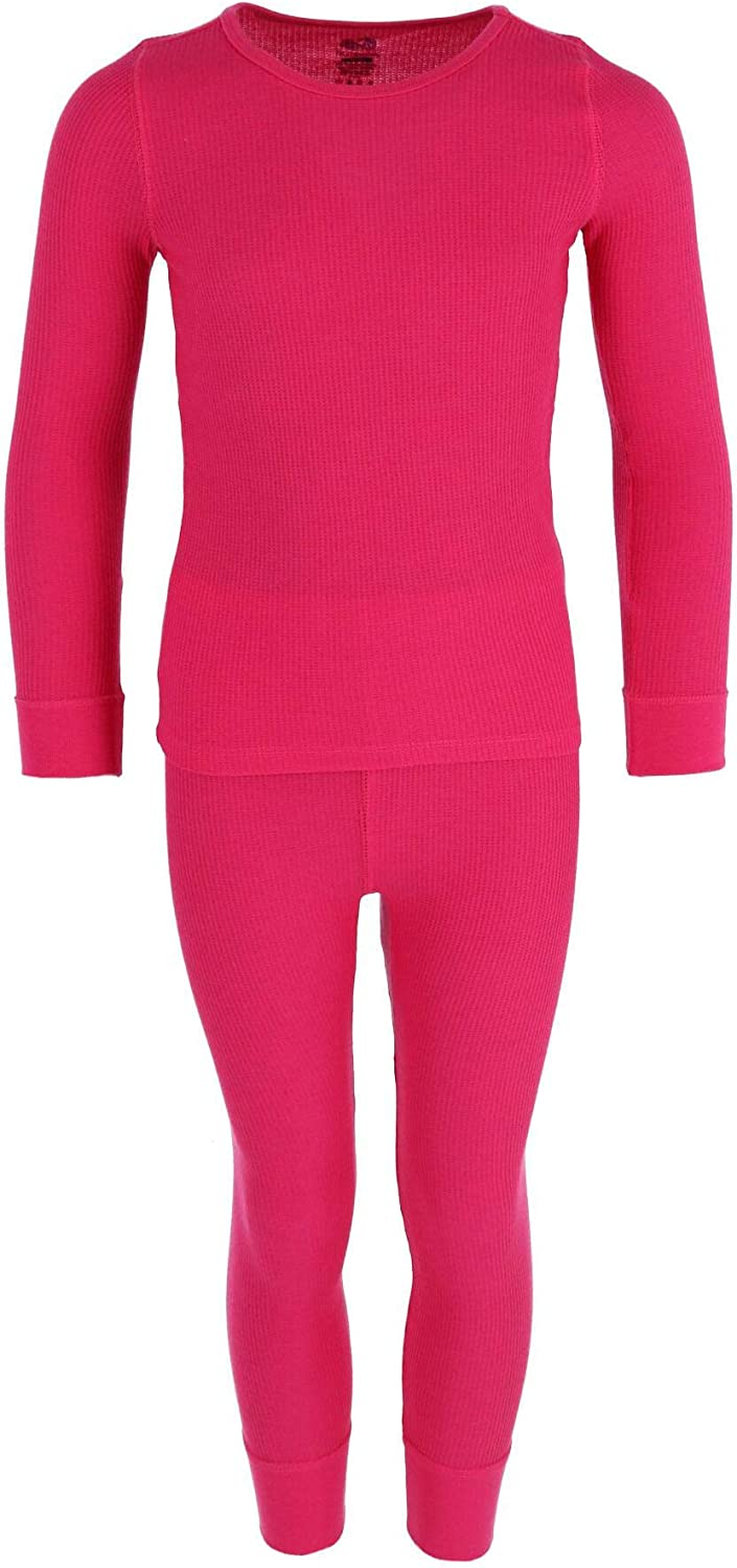 Fruit of the Loom Girl's Waffle Weave Top and Bottom Thermal Long Underwear