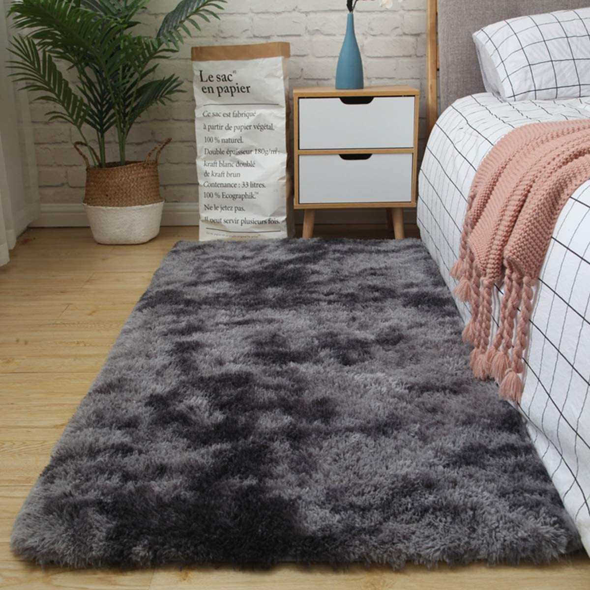 Area Rugs for Living Room, Bedroom, Modern Home Decorate Soft Fluffy Shaggy Indoor Carpet Christmas Thanksgiving Gift Girls Mat(4X6 Feet, Dark Grey)