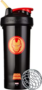 Blender Bottle Marvel Comics Pro Series Shaker Bottle, 28-Ounce, Iron Man Head